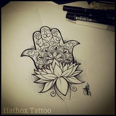 hamsa tattoo- a sign of protection that also represents blessings, power and strength, and is seen as potent in deflecting the evil eye. I have been thinking about getting a hamsa hand for a long time, this is almost perfect! Tattoos Mandalas, Mandala Arm Tattoo, Lotus Tattoo, Lotus Mandala, Flower Mandala, Hamsa Tattoo Design, Tattoo Designs, Tattoo Ideas, Hamsa Design