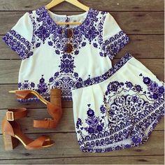 Blue-White Floral Short Sleeve 2-in-1 Short Jumpsuit - Jumpsuit Pants - Bottoms