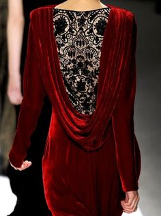 backless velvet dress with crocheted inset, granted this is high fashion, but a simpler version could be made for anything backless