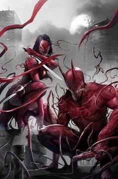Edge of Venomverse Cover by Francesco Mattina Daredevil and Elektra Symbiote bonded Arte Dc Comics, Marvel Comics Art, Marvel Comic Books, Comic Book Characters, Marvel Characters, Marvel Heroes, Comic Books Art, Comic Character, Comic Art