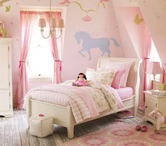 A bit much for the whole room, but I like the princess bedding. It's not garish Disney and my daughter would love it. Of course it's discontinued and hard to find from Pottery Barn.