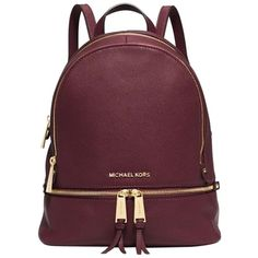 Pre-owned Michael Kors Rhea Zip Small (ship Via Priority Mail)... ($306) ❤ liked on Polyvore featuring bags, backpacks, merlot, leather backpack, michael kors backpack, leather tote, handbags totes e zippered tote