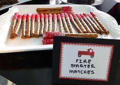"""firetruck party food ideas  fire starter """"matches"""" from pretzel sticks!"""