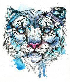 Icy Snow Leopard Portrait by Abby Diamond, via Behance