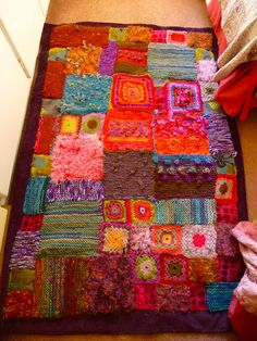 carpet....combination of knitting,crochet and scraps of fabric