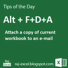 Microsoft Excel Short Cut Keys: Alt + FDA   Attach a copy of current workbook to default email as a attachment.