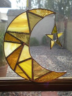 Stained Glass Moon and Star by DesertGirlGlass on Etsy