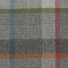 Malham Check Fabric A 100% wool check fabric woven in grey with orange, pink and blue.