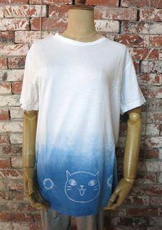 Aizome Japanese indigo shibori CAT batik  T-shirt [T-C1]