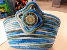 Hand dyed cotton clothesline basket made by Diane Fama