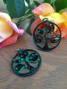 tree in circle paper quilled earrings