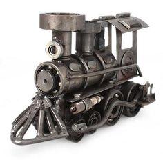 Unique Recycled Metal Rustic Train Sculpture Mexico - Rustic Locomotive | NOVICA