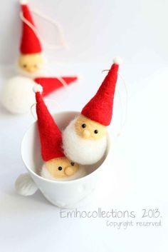 Image result for Needle Felted Santa Moon