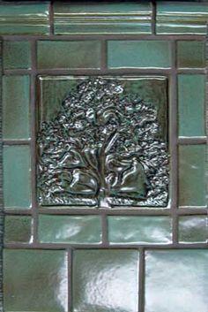 "8"" 'Mother Oak' decorative tile, field & chair rail tiles in Monterey Jade glaze by Handcraft Tile"