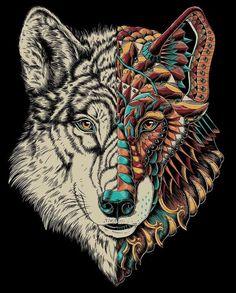 Эскиз волка с орнаментом