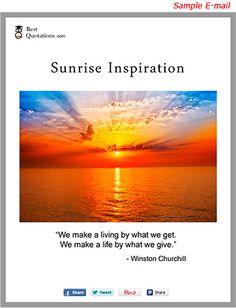 SUNRISE INSPIRATION A free subscription for a picture of a sunrise along with an inspiration quote.