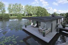 The Boathouse: a new definition to lakefront living! Floating Architecture, Lakefront Property, Water House, Cool Boats, Floating House, Relax, Rustic Design, Tiny House, Boat House