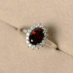"""UK """"ad:"""" 1.80 Ct Oval cut Garnet Diamond Engagement Wedding Ring 14K White Gold Finish Category: Gemstone Location: United Kingdom... -"""