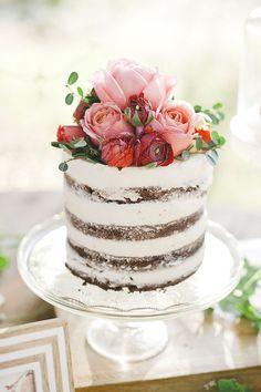 LOVE Naked Cakes!  Brides.com prettiest wedding cake. Flowers by Plenty of Petals
