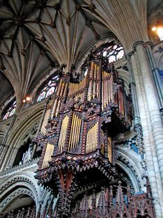 Organ case in Ely cathedral, Cambridgeshire, England.