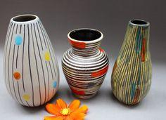 3 50's Steuler lava vases West Germany