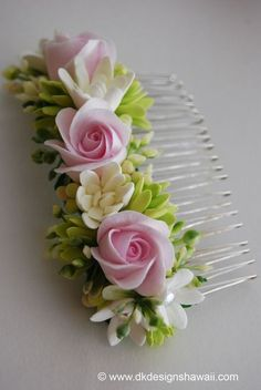 DK Designs: Matching Corsage and Hair Comb for a Mother of the Bride Polymer Clay Creations, Polymer Clay Crafts, Polymer Clay Jewelry, Gum Paste Flowers, Paper Flowers, Fleurs Kanzashi, Barrettes, Polymer Clay Flowers, Clay Projects