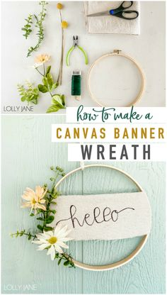 Make this EASY canvas banner hoop wreath in less than 20 minutes! Perfect to display year round or to bring in some spring cheer! Diy Crafts Hacks, Diy Home Crafts, Cute Crafts, Diy Craft Projects, Diy Wreath, Wreaths, Diy Furniture Restoration, Egg Carton Crafts, Diy Crafts For Adults