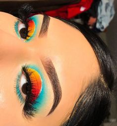 Dope Makeup, Baddie Makeup, Edgy Makeup, Eye Makeup Art, Colorful Eye Makeup, Crazy Makeup, Skin Makeup, Eyeshadow Makeup, Beach Eye Makeup
