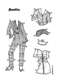 Damer. Påklædningsdukker til at farvelægge. Paper Dolls to colour. - Karen Bisgaard - Picasa Webalbum