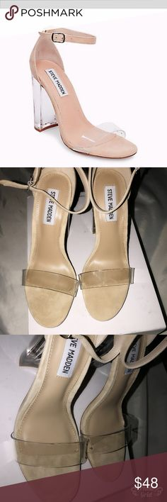 Steve Madden Chelsea clear heels  stylish nude Steve Madden Chelsea clear heels size 6.5 . Super cute Steve Madden Shoes Heels