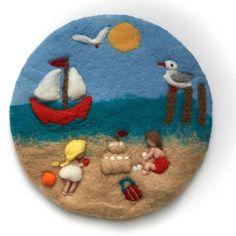 Sommer Wool painting PicturetapestryWet feltedNeedle