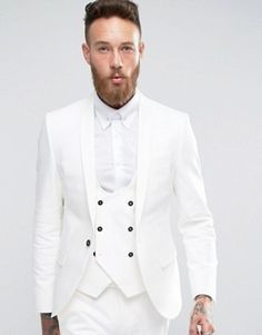 Buy Noose & Monkey Super Skinny Suit In White at ASOS. With free delivery and return options (Ts&Cs apply), online shopping has never been so easy. Get the latest trends with ASOS now. White Pants Men, Prom Blazers, Blazer Suit, Suit Jacket, Mode Costume, Skinny Suits, Burton Menswear, Fashion Corner, Mens Suits