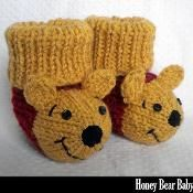 Knitting Patterns Booties Winnie the Pooh Booties Knitting Pattern Baby Booties Knitting Pattern, Crochet Baby Booties, Knit Or Crochet, Baby Knitting Patterns, Knitting Socks, Baby Patterns, Crochet Patterns, Knitting For Kids, Knitting Projects