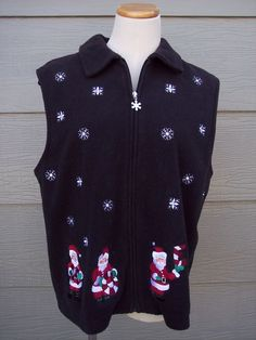 Bechamel Womens Christmas Zipper Vest Sz M 43B Black Fleece Santa Snowflake NOEL #Bechamel