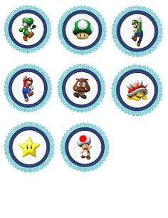 {Free} Mario party printables. Cupcake toppers