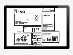 Logo and geometric, monochromatic website for Spanish Bank Evo designed by Saffron
