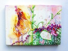 EFA - Artists Helping Animals - Member Charity Promotions Blog: Chicken - A Watercolour and Embroidery on canvas by mimilove