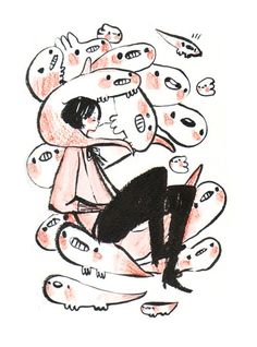 Doodle in sketchbook Super friendly flu viruses