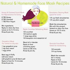 Homemade face masks types include honey and oatmeal for rejuvenation and clarity, grapefruit for normal to oily skin, Apple cucumber refreshing mask, strawberry clearing mask good for acne, avocado fa