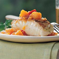 Grilled Striped Bass with Chunky Mango-Ginger Sauce - Grilled Seafood Recipes - Cooking Light Baked Tilapia Recipes, Fish Recipes, Seafood Recipes, Recipies, Striped Bass Recipe Grilled, Grilling Recipes, Cooking Recipes, Cooking Time, Grilled Seafood