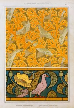 M.P. Verneuil (French, 1869-1942). L'animal dans la décoration. Poisson et algues, papier peint; pigeon et pavots, bordure de vitrail. 1897.