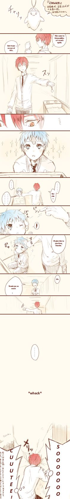Kuroko sure is lethally adorable here, but at the same time Akashi is almost equally cute for being so fangirly as to walking right into that wall xD