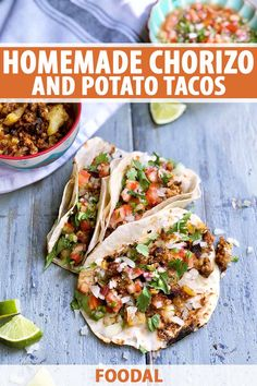 When you can't get those gloriously spicy Mexican flavors out of your mind, give this recipe a try. These carefully crafted handhelds are layered with a homemade chorizo-potato pairing, herby cilantro, chopped onions, and loads of lime. Read on for the recipe. #homemadechorizo #chorizopotatotacos #foodal Beef Recipes For Dinner, Delicious Dinner Recipes, Entree Recipes, Chorizo And Potato Tacos Recipe, Homemade Chorizo, Easy Weeknight Meals, International Recipes, Lunches And Dinners, Popular Recipes