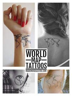 40 world map tattoos that will ignite your inner travel bug map tattoo ideas 32 world map i gumiabroncs Image collections