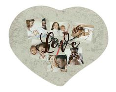 Orologio a cuore con grafica collage con scritta