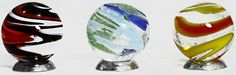 """Unique and Custom {1' Inch} Set Of 3 Big """"Round"""" Clear Marbles Made of Glass for Filling Vases, Games and Decor w/ Creative Vibrant Swirled Iridescent Bold Design (Assorted Colors) w/ 3 Stands ** Find out more about the great product at the image link. (This is an affiliate link and I receive a commission for the sales)"""
