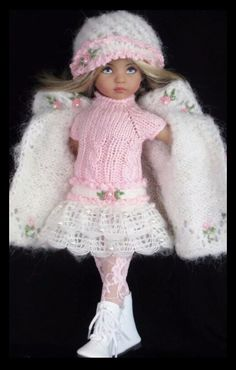 Handknit Mohair set made for Effner little darling dolls