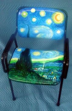 want this too! Starry Night Art, Starry Nights, Funky Furniture, Painting Furniture, School Murals, Birthday Wishes For Myself, Van Gogh Art, Painted Chairs, Workspaces