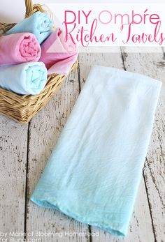 Easy to follow tutorial showing you how to make these lovely diy Ombre kitchen towels.