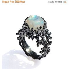 CORAL Rainbow Moonstone Ring, Silver Moonstone Ring, Black Silver... ($215) ❤ liked on Polyvore featuring jewelry, rings, silver moonstone ring, black and silver ring, coral cocktail ring, black silver rings and statement rings